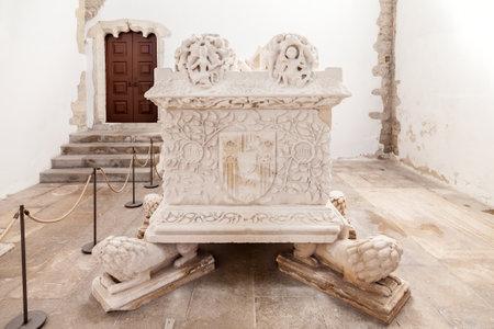 14th century: Santarem, Portugal. September 11, 2015: Gothic Tomb of Dom Pedro de Menezes and wife Dona Beatriz Coutinho. Santo Agostinho da Graca church. 14th and 15th century Mendicant and Flamboyant Gothic.