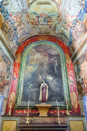 mannerism: Santarem, Portugal. September 11, 2015: One of the chapels covered with frescos in the nave of the Hospital de Jesus Cristo Church. 17th century Portuguese Mannerist architecture, called Chao. Editorial