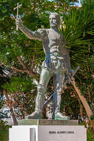 discoverer: Santarem, Portugal. September 11, 2015: Pedro Alvares Cabral statue, placed in front of the Graca Church, where the navigator, sea explorer and discoverer of Brazil is buried. Editorial