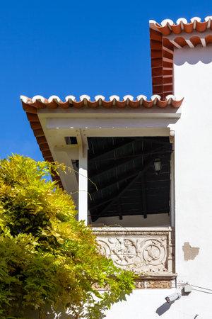 ribatejo: Santarem, Portugal. September 11, 2015:  Varanda Renascenca, the Renaissance era balcony decorated with bas-relief.
