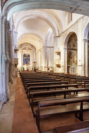 17th century: Santarem, Portugal. September 11, 2015: Nave of the Hospital de Jesus Cristo Church. 17th century Portuguese Mannerist architecture, called Chao. Editorial