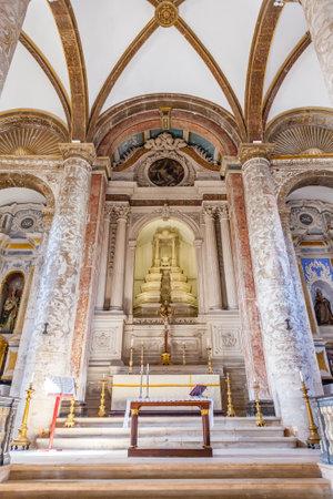 ribatejo: Santarem, Portugal. September 11, 2015:  Misericordia church Altar. 16th century Hall-Church in late Renaissance Architecture.