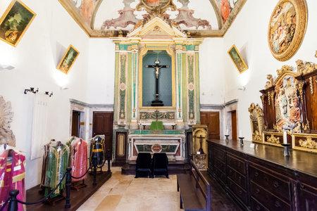 ribatejo: Santarem, Portugal. September 11, 2015:  Sacristy of the Misericordia church. 16th century Hall-Church in late Renaissance Architecture. Santarem, Portugal. Editorial