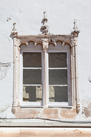 Santarem, Portugal. September 11, 2015:  The Manueline Window. Manueline is a specific Portuguese type of Gothic. Sa da Bandeira Square.