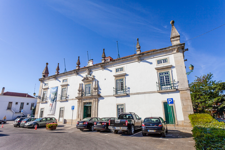 silva: Santarem, Portugal. September 11, 2015: The former Eugenio Silva Palace, a 17th century Manor-House currently used as the city-hall of Santarem. Editorial