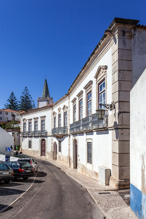 ribatejo: Santarem, Portugal. September 11, 2015:  Municipal Library, also known as the Anselmo Braamcamp Freire House-Museum. Editorial