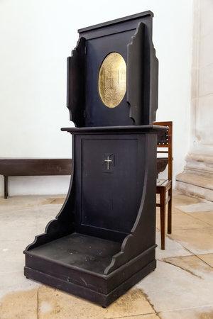 ribatejo: Santarem, Portugal. September 11, 2015: Confessional in the Misericordia. 16th century late Renaissance Architecture.
