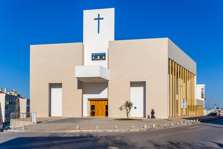 church building: Seixal, Portugal. November 04, 2015: The new catholic church of Amora inaugurated in 2007.
