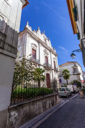 ribatejo: Santarem, Portugal. September 11, 2015: Misericordia church. 16th century Hall-Church in late Renaissance Architecture with a baroque facade. Editorial