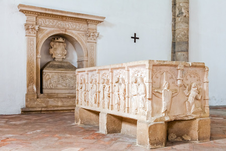 mendicant: Santarem, Portugal. September 12, 2015: Tombs with bas-relief decorations in Santa Clara Church. 13th century Mendicant Gothic Architecture. Santarem is called the Capital of Gothic in Portugal. Editorial