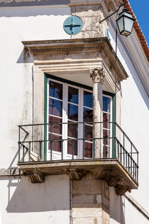 ribatejo: Santarem, Portugal. September 11, 2015:  The Renaissance Window (Janela Renascentista) near the Misericordia Church. Editorial
