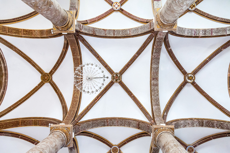 mannerism: Santarem, Portugal. September 11, 2015:  Ceiling of the Misericordia church with a view of the painted Tuscan columns. 16th century Hall-Church in late Renaissance Architecture.