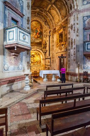 mannerism: Santarem, Portugal. September 11, 2015: Interior of the Nossa Senhora da Piedade Church. 17th century Mannerist architecture.