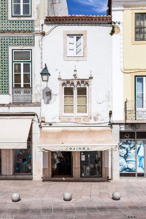 ribatejo: Santarem, Portugal. September 11, 2015:  The Manueline Window. Manueline is a specific Portuguese type of Gothic. Sa da Bandeira Square.