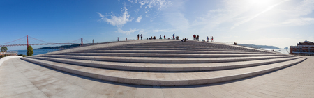 amanda: Lisbon, Portugal - October 31, 2016: The rooftop of the MAAT - Museum of Art, Architecture and Technology. Open since October 5th. Designed by the British architect Amanda Levete