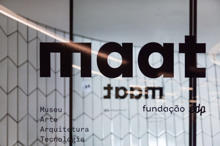 amanda: Lisbon, Portugal - October 31, 2016: Entrance doors of the MAAT - Museum of Art, Architecture and Technology. Open since October 5th. Designed by the British architect Amanda Levete