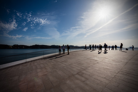 amanda: Lisbon, Portugal - October 31, 2016: Sunset on the rooftop of the MAAT - Museum of Art, Architecture and Technology. Open since October 5th. Designed by the British architect Amanda Levete Editorial