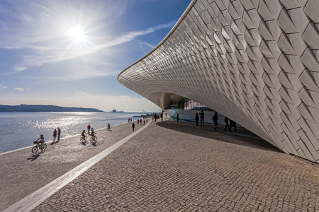 art museum: Lisbon, Portugal - October 31, 2016: MAAT - Museum of Art, Architecture and Technology. Open since October 5th. Designed by the British architect Amanda Levete