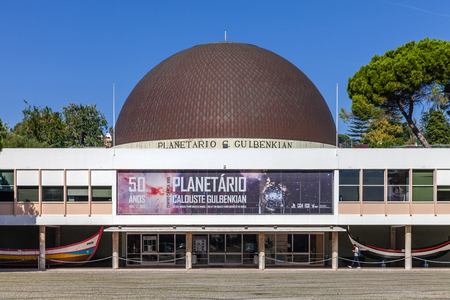 commemorating: Lisbon, Portugal. October 31, 2016: Calouste Gulbenkian Planetarium commemorating the 50th anniversary. Belem District, Lisbon, Portugal.