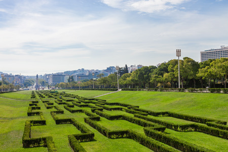eduardo: Eduardo VII Park in Lisbon, Portugal, decorated with hedges. View of the city center and downtown from the scenic overlook or vista point built on the top.
