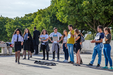 freshmen: Lisbon, Portugal - October 19, 2016: The Praxe, a ritual initiation where University Freshmen are welcomed by veterans. Controversial practice, where abuse and humiliation are often common.