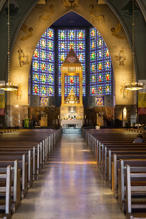 Lisbon, Portugal - October 19, 2016: Nossa Senhora do Rosario de Fatima Church. A National Modernist style church built in 1938 with stained glass by Almada Negreiros.