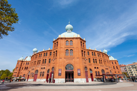 bullring: Lisbon, Portugal - October 19, 2016: Campo Pequeno Bullring Arena. The most iconic arena in Portugal. 19th century Moorish Revival style. Also hosts concerts, fairs, exhibitions and other events. Editorial