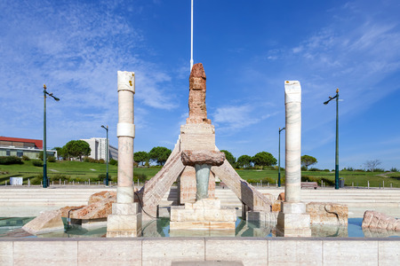 eduardo: Lisbon, Portugal - October 19, 2016: Eduardo VII Park. A controversial monument to the 25 de Abril Revolution, built in the scenic overlook or vista point of the park.