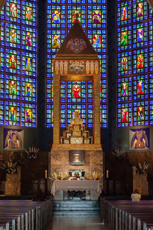 senhora: Lisbon, Portugal - October 19, 2016: Nossa Senhora do Rosario de Fatima Church. A National Modernist style church built in 1938 with stained glass by Almada Negreiros.