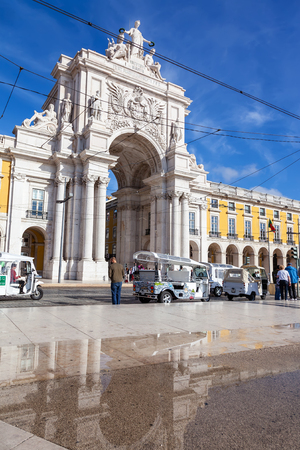 Lisbon, Portugal - October 24, 2016: The iconic Augusta Street Triumphal Arch in the Commerce Square, Praca do Comercio or Terreiro do Paco.