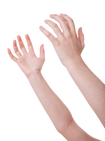 supplication: Open hands in the air. Concept for prayer, begging, plea, holding or catching isolated on white background