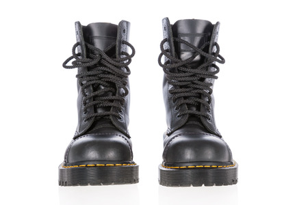 steel toe boots: Black leather work boots with steel toe and military style isolated on white background. Stock Photo