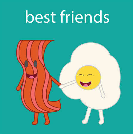 manos unidas: Cartoon vector of a bacon slice and a fried egg. Best friends. Vectores