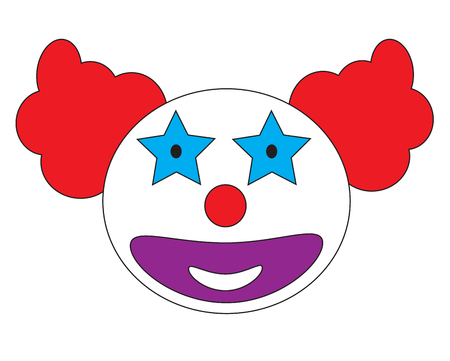 celebration smiley: Smiley clown face icon vector isolated in white background. Illustration