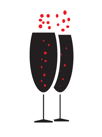bubbly: Two bubbly champagne glasses icon vector isolated in white background.