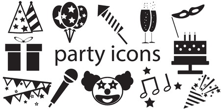 party poppers: Party icons vector isolated in white background.