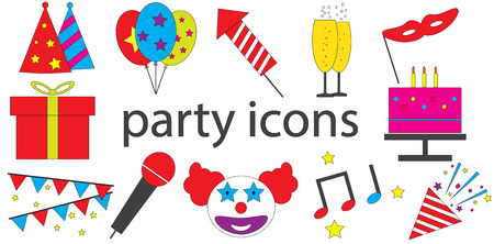 Party icons vector isolated in white background.