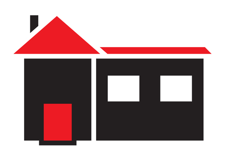 roof construction: House icon vector isolated in white background.