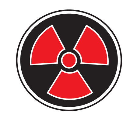 caution chemistry: Radiation sign icon vector isolated white background.