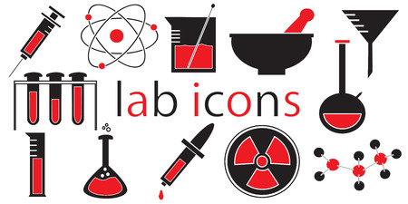 distilling: Laboratory icons vector isolated white background.
