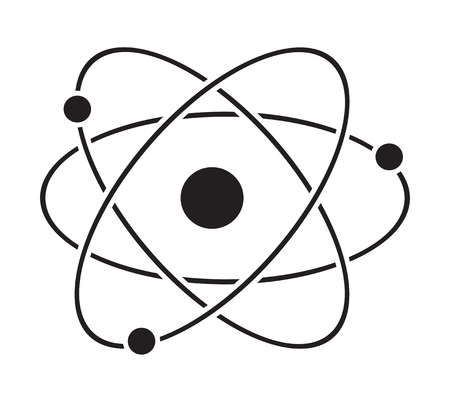 Atom icon vector isolated in white background. Illustration