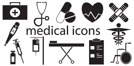 pharmacy pills: Black and white set of medical icons vector isolated in white background.