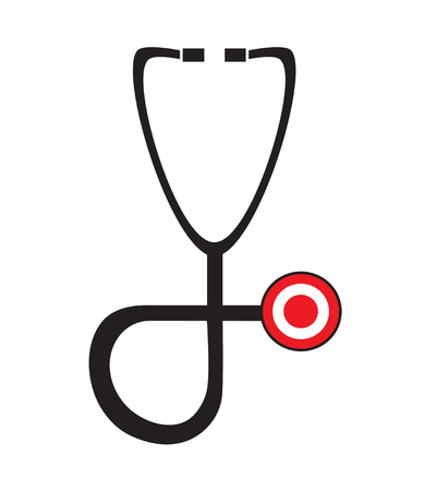 medical exam: Stethoscope icon vector isolated in white background. Medical icons. Illustration