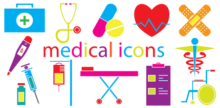 saline: Colorful Set of medical icons vector isolated in white background. Illustration