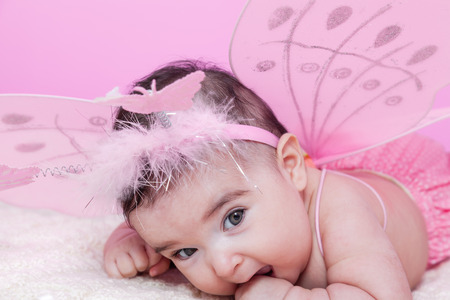 nude little girls: Cute, pretty, happy, chubby and smiling baby girl portrait, with pink butterfly wings and headband with butterflies as antennae. Four months old Stock Photo
