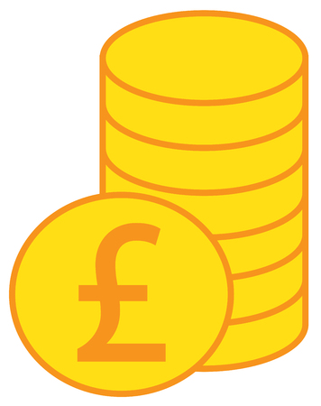 Pound Sterling Currency Icon Vector Over A Pile Of Coins Stack