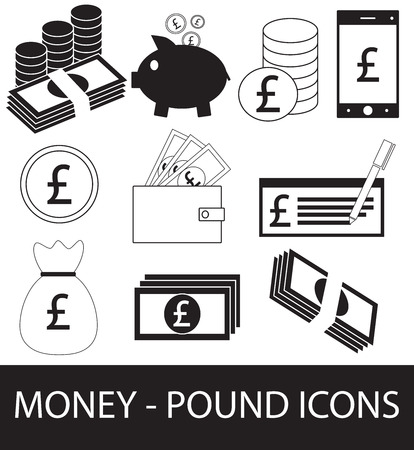 Set, collection or pack of Pound currency icon includes Coins, notes or bills, cell or mobile phone, wallet or check.