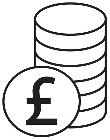 Pound Sterling currency icon vector over a pile of coins stack. Symbol for United Kingdom or Great Britain and England bank, banking or British and English finances.