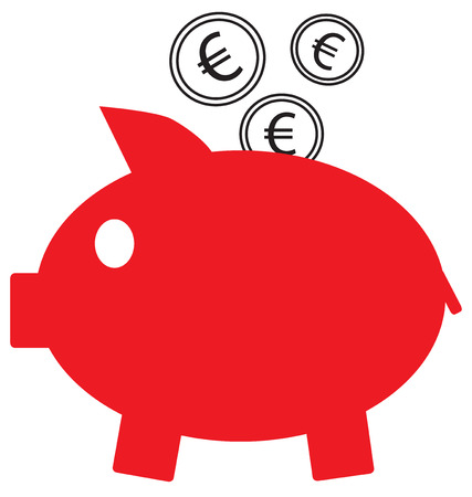 Euro currency icon  vector on coins entering a red piggy bank.