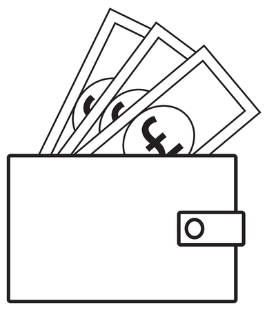 Pound sterling currency icon vector on notes popping out of a wallet. Symbol for United Kingdom or Great Britain and England bank, banking or British and English finances.